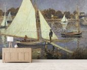 The Seine at Argenteuil, 1874 (oil on canvas) mural wallpaper living room preview