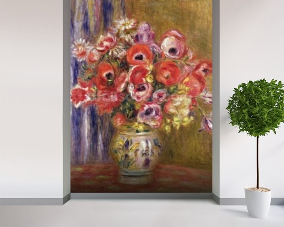 Vase of Tulips and Anemones, c.1895 mural wallpaper room setting