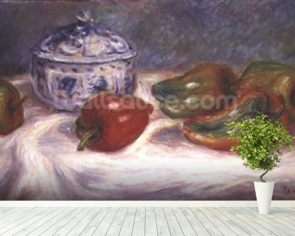 Still life with a sugar bowl and red peppers, c.1905 wallpaper mural room setting