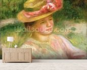The Straw Hat, 1895 wall mural living room preview