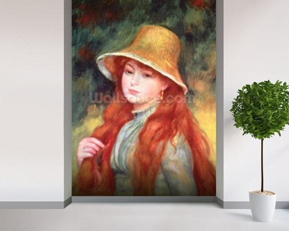 Young girl with long hair, or Young girl in a straw hat, 1884 mural wallpaper room setting