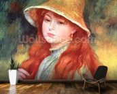 Young girl with long hair, or Young girl in a straw hat, 1884 mural wallpaper kitchen preview