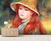 Young girl with long hair, or Young girl in a straw hat, 1884 mural wallpaper living room preview