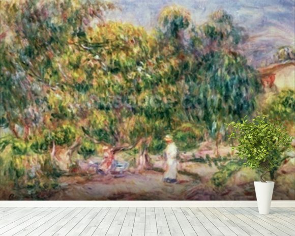 The woman in white in the garden of Les Colettes, 1915 wall mural room setting