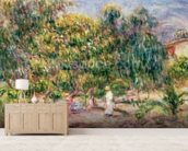 The woman in white in the garden of Les Colettes, 1915 wall mural living room preview