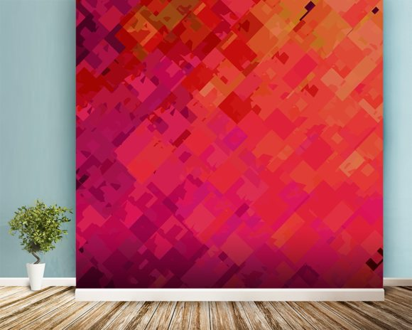 Purple and Orange mural wallpaper room setting