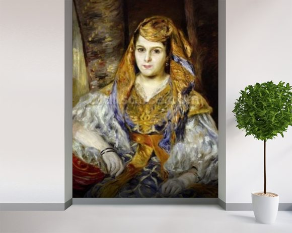 Mme. Clementine Stora in Algerian Dress, or Algerian Woman, 1870 (oil on canvas) wall mural room setting