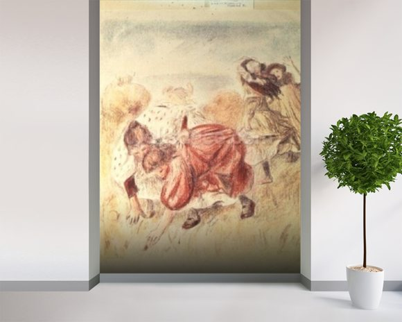 Young Girls Playing (coloured pencil) wall mural room setting