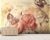 Young Girls Playing (coloured pencil) wall mural living room preview
