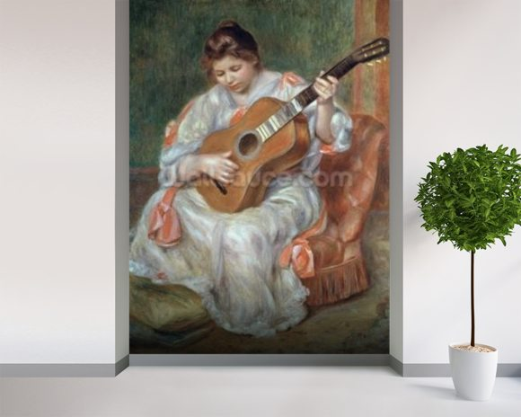The Guitar Player, 1897 (oil on canvas) wallpaper mural room setting