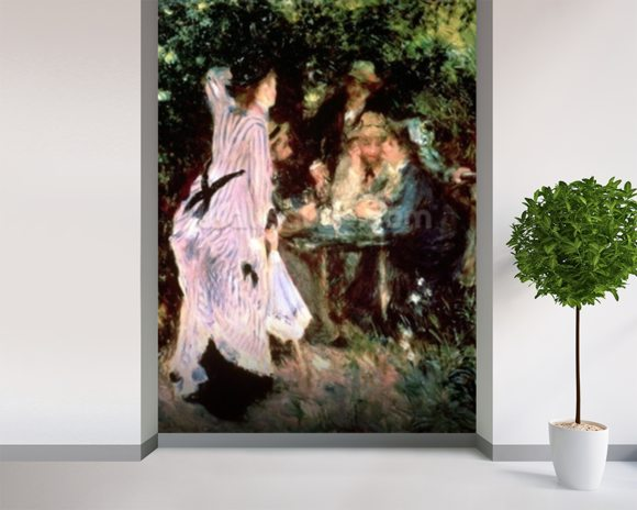 In the Garden, or Under the Trees of the Moulin de la Galette, 1875 (oil on canvas) wall mural room setting