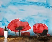 Painting of Red Poppies wall mural kitchen preview