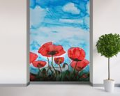 Painting of Red Poppies wall mural in-room view