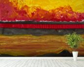 Painting of a Colourful Sunset wall mural in-room view