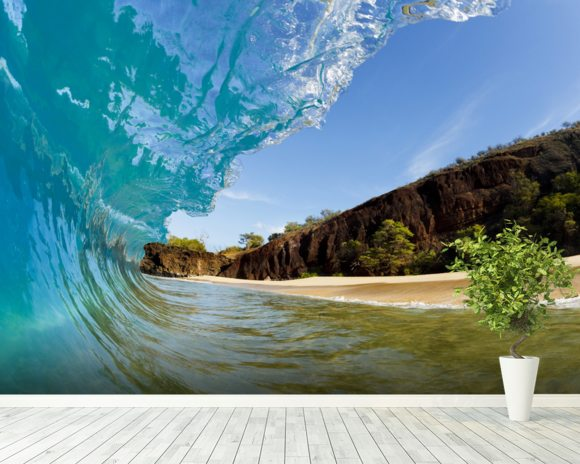 Hawaii, Makena Beach, Beautiful Wave Breaking Along Shore mural wallpaper room setting
