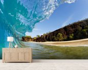 Hawaii, Makena Beach, Beautiful Wave Breaking Along Shore mural wallpaper living room preview