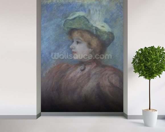 Portrait of Mademoiselle Dieterle (pastel on paper) wall mural room setting