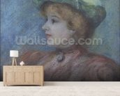 Portrait of Mademoiselle Dieterle (pastel on paper) wall mural living room preview