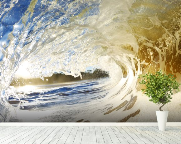 Hawaii makena beach view through tube of sandy wave wall for Beach view wall mural