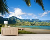 Hawaii, Kauai, Hanalei Bay, Outrigger Canoes On Resort Beach. wallpaper mural living room preview