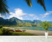 Hawaii, Kauai, Hanalei Bay, Outrigger Canoes On Resort Beach. wallpaper mural in-room view