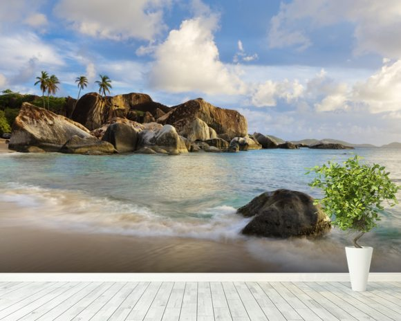 British Virgin Islands, Virgin Gorda, Tropical Beach Seascape mural wallpaper room setting