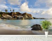 British Virgin Islands, Virgin Gorda, Tropical Beach Seascape mural wallpaper in-room view