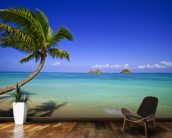 Hawaii, Oahu, Lanikai, Palm Tree Over Blue Ocean wall mural kitchen preview