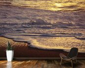 Hawaii, Oahu, North Shore, Reflection Of Sunset On Small Wave wallpaper mural kitchen preview