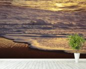 Hawaii, Oahu, North Shore, Reflection Of Sunset On Small Wave wallpaper mural in-room view
