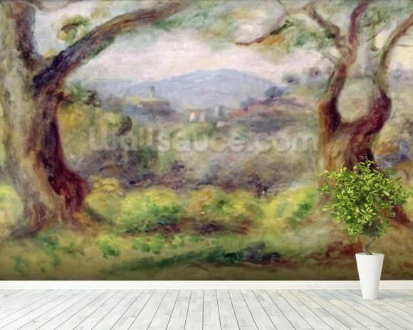 Landscape at Les Collettes, 1910 (oil on canvas) mural wallpaper room setting