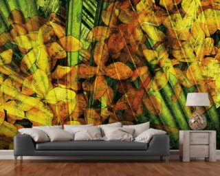 Collage Of Palm Leaf And Orchids Photo Wallpaper Wall Murals Wallpaper
