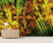 Collage Of Palm Leaf And Orchids mural wallpaper living room preview