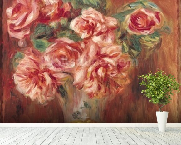 Roses in a Vase, c.1890 (oil on canvas) wall mural room setting