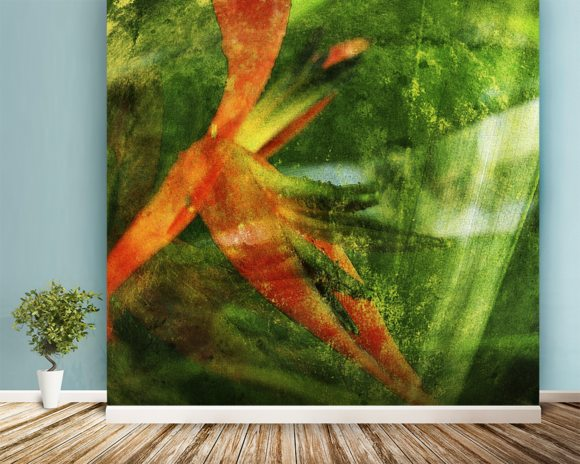 Close-Up Of Red Heliconia wall mural room setting