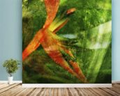 Close-Up Of Red Heliconia wall mural in-room view