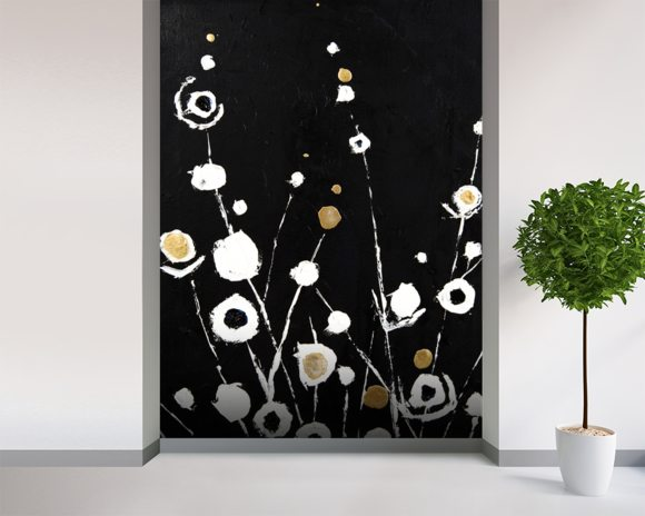 Abstract Flora II - 2 Panel Series wall mural room setting