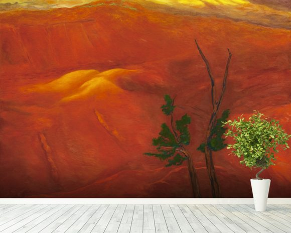 Evening Light Over The Naturally Red Hills wall mural room setting