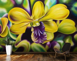 Close-Up Of Yellow Orchid Blossom (Oil Painting) Wallpaper Wall Murals Wallpaper