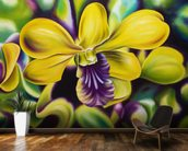 Close-Up Of Yellow Orchid Blossom (Oil Painting) wallpaper mural kitchen preview