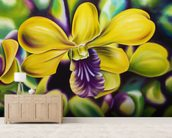Close-Up Of Yellow Orchid Blossom (Oil Painting) wallpaper mural living room preview