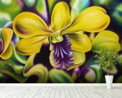 Close-Up Of Yellow Orchid Blossom (Oil Painting) wallpaper mural in-room view