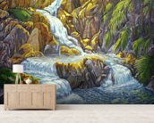 Waterfall At Botanical Gardens, Big Island wall mural living room preview