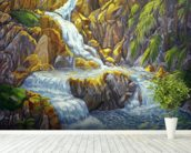Waterfall At Botanical Gardens, Big Island wall mural in-room view