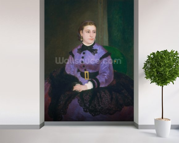 Portrait of Mademoiselle Sicot, 1865 (oil on canvas) wallpaper mural room setting