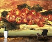 Strawberries on a White Tablecloth mural wallpaper kitchen preview