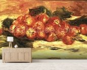 Strawberries on a White Tablecloth mural wallpaper living room preview