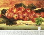 Strawberries on a White Tablecloth mural wallpaper in-room view