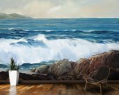 Wave Crashing On Rocky Shoreline mural wallpaper kitchen preview
