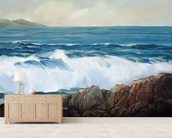 Wave Crashing On Rocky Shoreline mural wallpaper living room preview